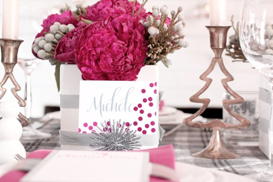 table decorations,christmas,pink,silver