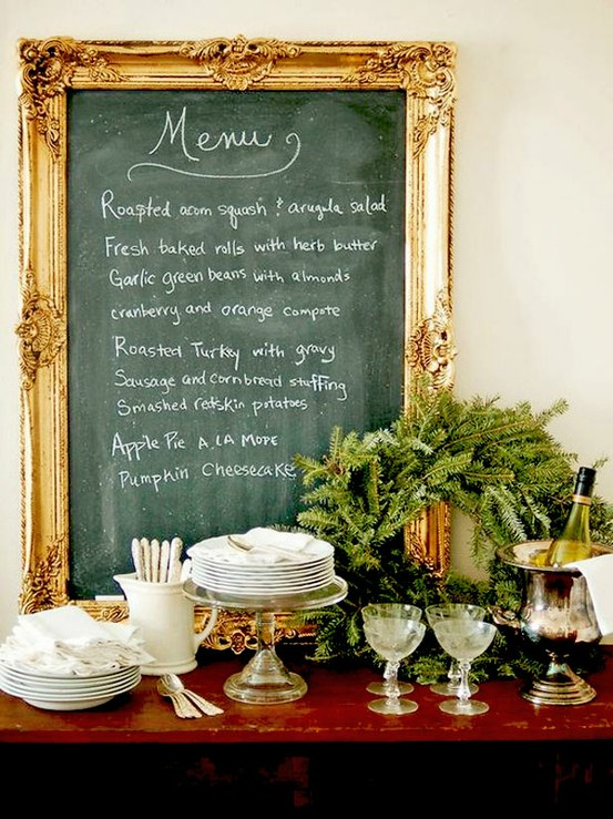 blackboard,gold,frame,buffet,christmas