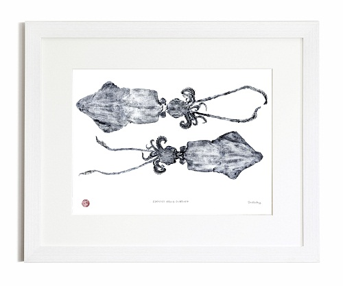 Cornish Squid Gyotaku Print