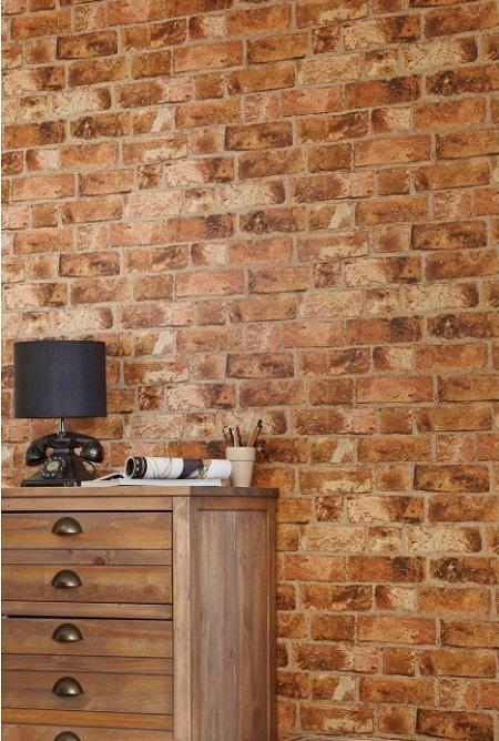 Wood Effect Wallpaper In Living Room