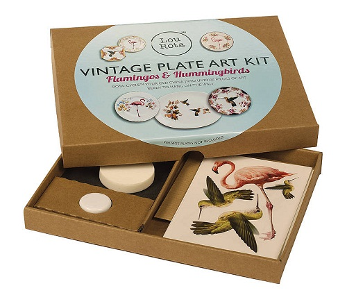 lou rota vintage plate art kit - flamingos