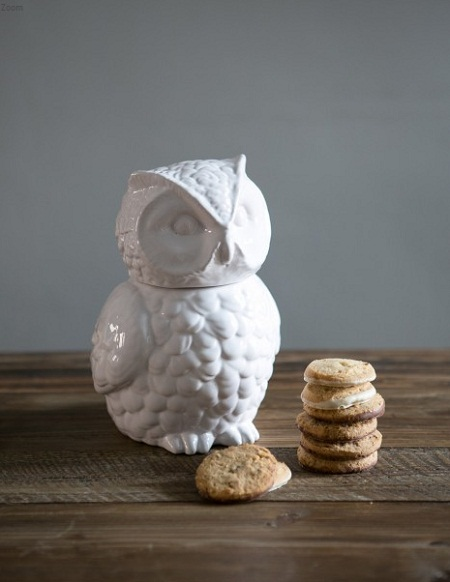 rose and grey cookie jar