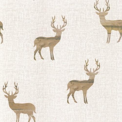 Designer Selection Wooden Stag Wallpaper Cream, beige - I love wallpaper