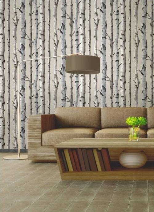 Fine Decor Birch Tree Wallpaper Natural Beige, cream - I love wallpaper