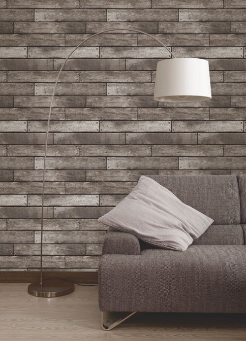 Fine Decor Wooden Plank Wallpaper Silver, Charcoal - I love wallpaper
