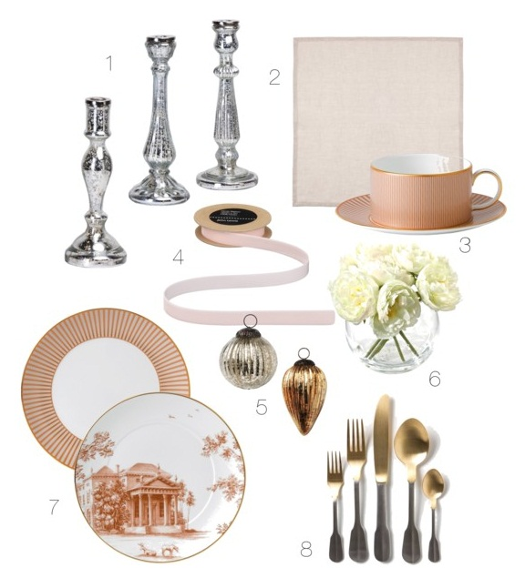 Silver, gold, pink, table setting for Christmas