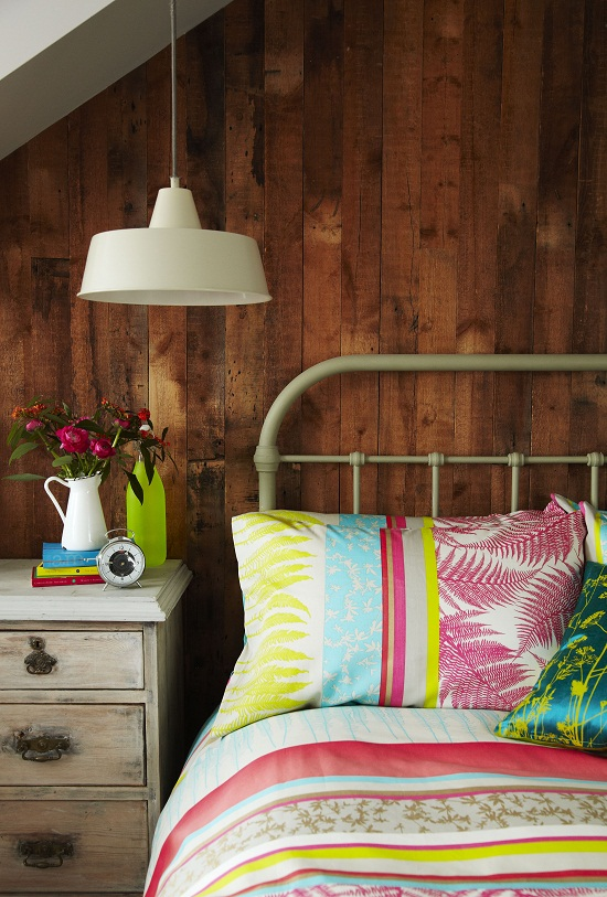Clarissa Hulse Fern Stripe Bed Linen in Neon, Duvet Cover from £65, Pillowcases £25 for pair