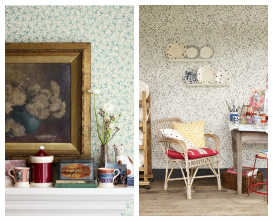 Coral and Splatter Wallpaper by Emma Bridgewater in Collaboration with Sanderson