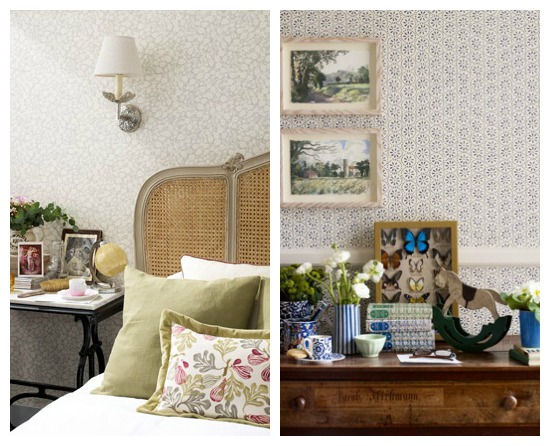 Sweet Pea and Daisy Spot Wallpaper by Emma Bridgewater in Collaboration with Sanderson