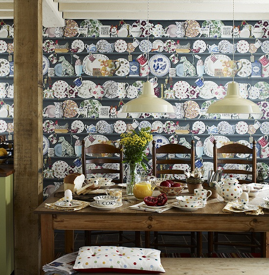 The Dresser Wallpaper by Emma Bridgewater in Collaboration with Sanderson