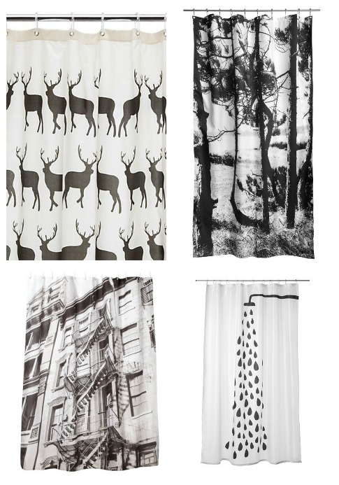 black, white and grey shower curtains via Dear Designers Blog