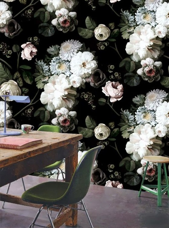 Ellie Cashman Design wallpaper - dark floral 1