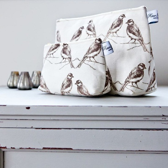 Rawxclusive.co.uk birds cosmetic bags