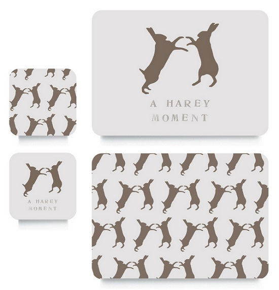 Rawxclusive.co.uk boxing hares coasters and placemats