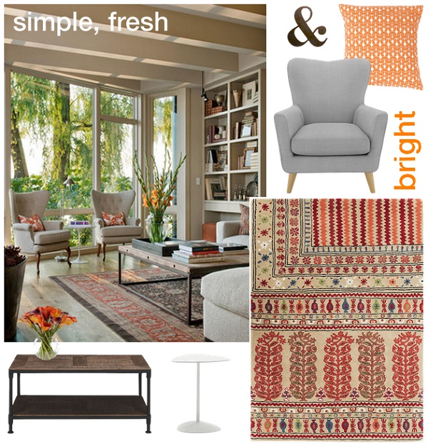 Timeless. Simple, fresh and bright living room scheme via Dear Designer's Blog