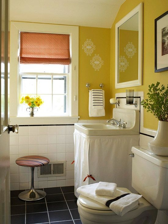 Sunny yellow bathroom from Better Homes and Gardens [2]