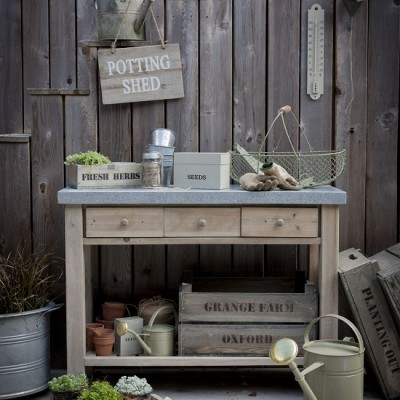 Garden Trading Aldsworth potting table £240, Wooden sign £12, Colworth herb box £22, Wooden seed tray £10, Large and small seed box in clay £6 - £10 mailable