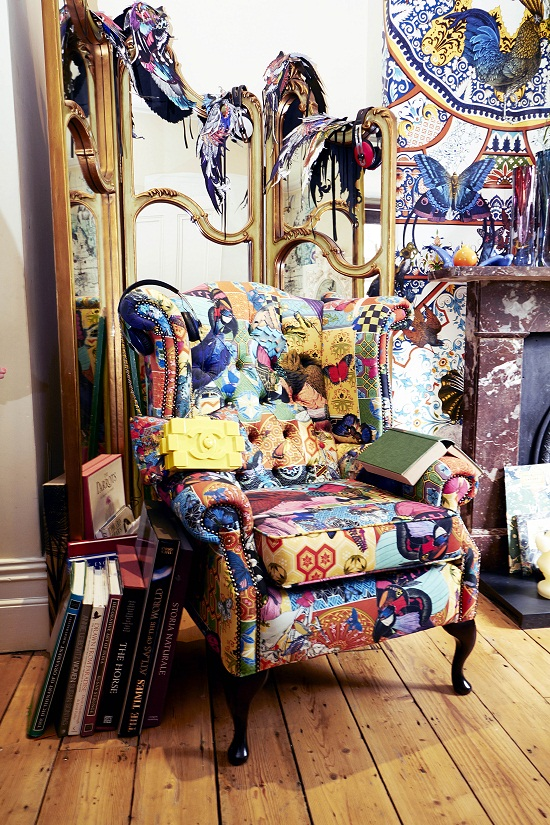 Kristjana S Williams Studio - Red Parrot Tapestry Chair