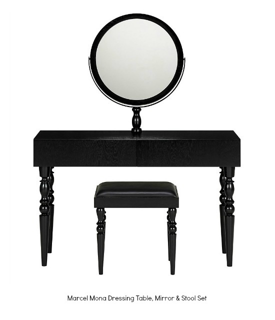 M&S Marcel Mona Dressing Table, Mirror & Stool Set