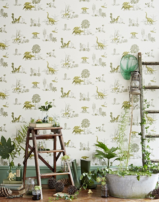 Sian Zeng Dino Yellow Green Wallpaper