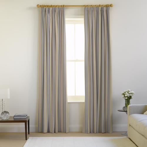 airforce-pencilpleat curtains from the Natural Curtain Co