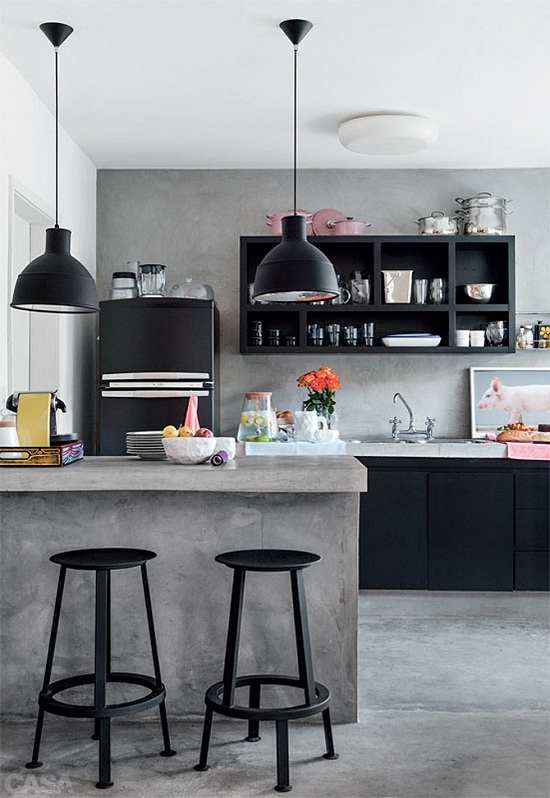 Concrete Kitchen via Elle Deco