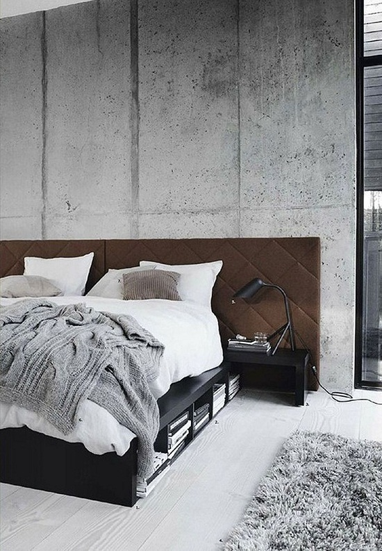 Concrete walls in the bedroom via boconcept