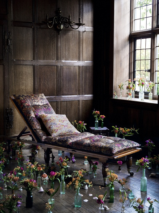 Liberty Art Fabrics Interiors, Faria Flowers in Woodpecker, vintage velvet -ú130 per metre Cushion in Floral Clay, Wood Fairy, scoured linen -ú85 per metre.