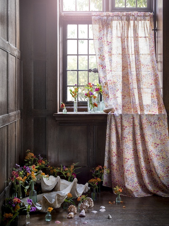 Liberty Art Fabrics Interiors - The Secret Garden Collection - curtain in Floral Clay, Sunrise, ramie voile -ú70 per m.