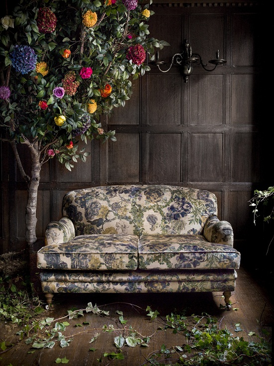 Liberty Art Fabrics Interiors - The Secret Garden - Jeffery Rose Tree in Golden vintage velvet -ú130 per metre