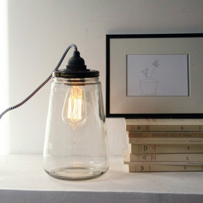 recycled pickle jar light - Cachette