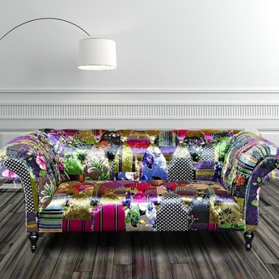 Chesterfield Patchwork 2 Seater Fabric Sofa Settee HI