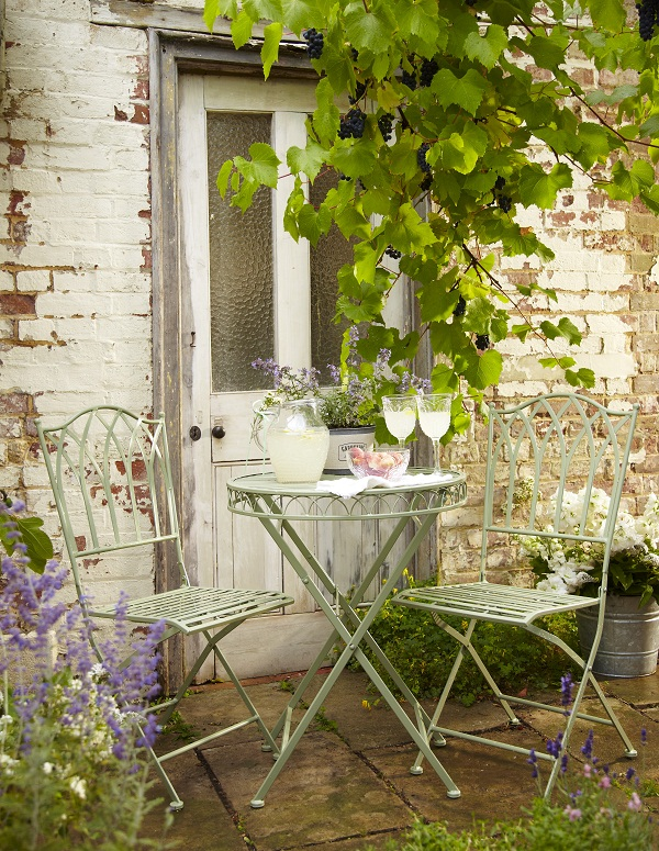 Ornate Metal Folding Bistro Chair, £35, Ornate Metal Folding Bistro Table, £40, Tesco