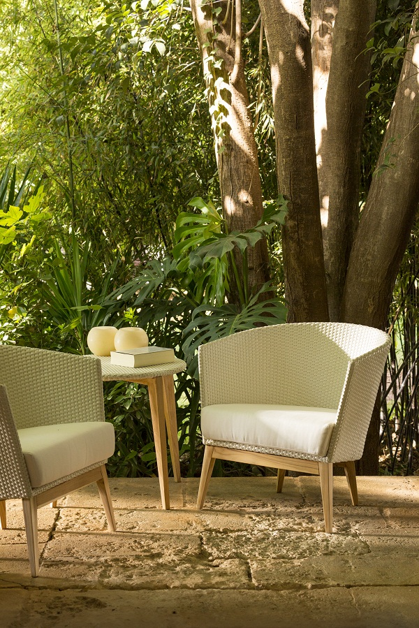 Point Arc garden armchairs and side table, Go Modern Furniture