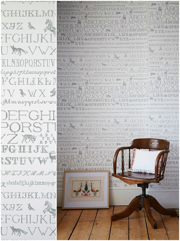 Abigail Edwards, Cross Stitch wallpaper in Monochrome