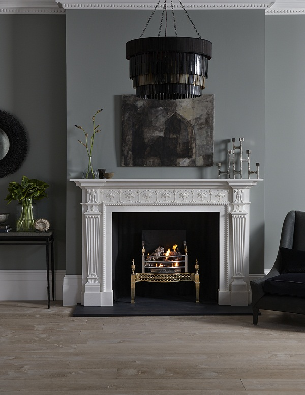 Roxburghe with Osterley Brass Fire Basket from Chesneys