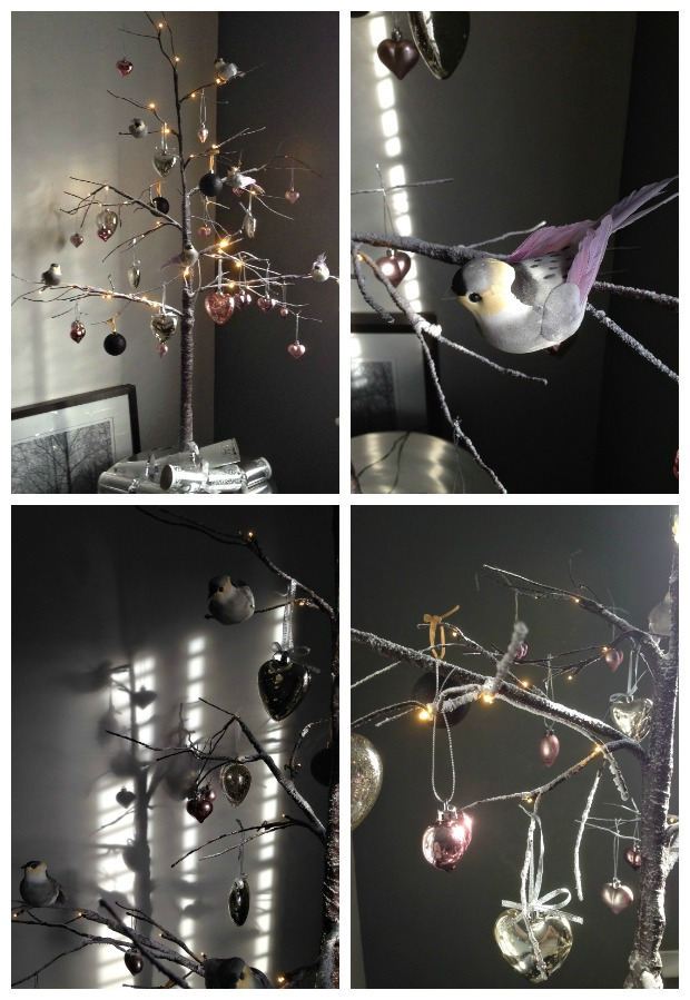 Dear Designer's Twig Tree for Christmas 2015 complete with pink and silver hearts, little birds and a hint of black [5]