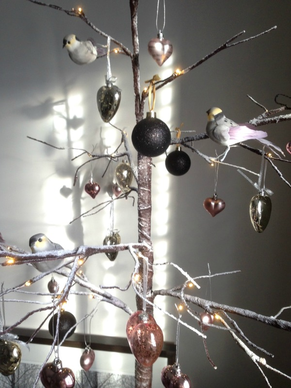 Dear Designer's Twig Tree for Christmas 2015 complete with pink and silver hearts, little birds and a hint of black