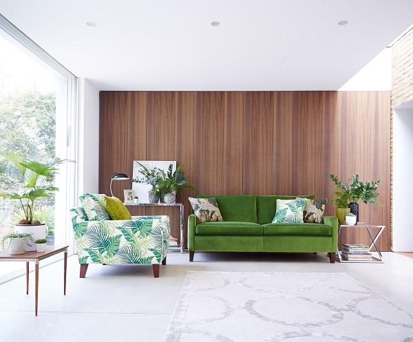 Botanical trend, leaf fabric armchair, green