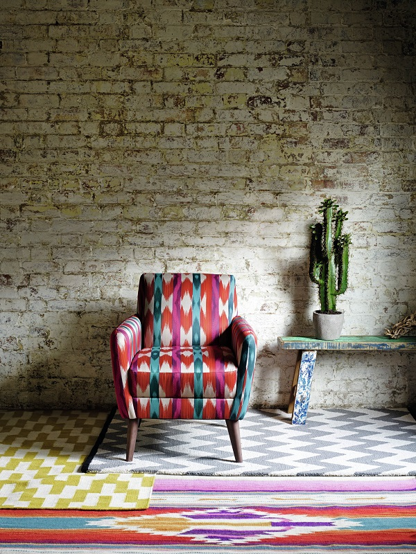 armchair in south american multi coloured weave