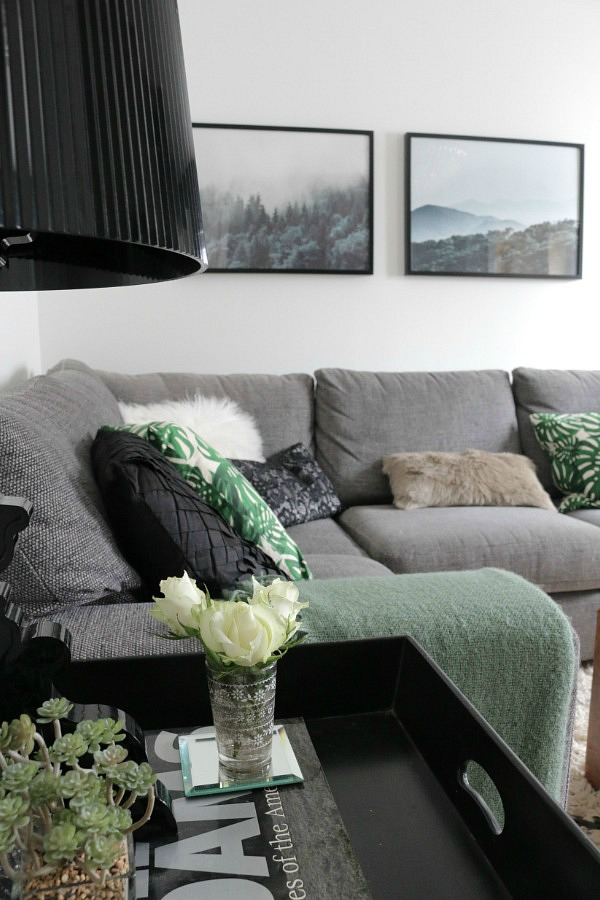black, grey and green sitting room