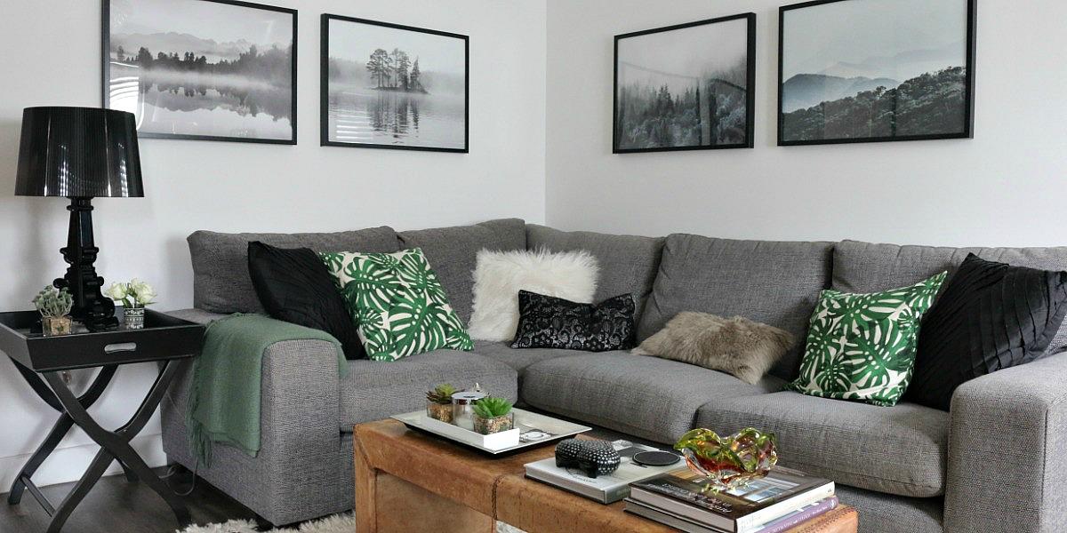 grey sofa, green botanical cushion
