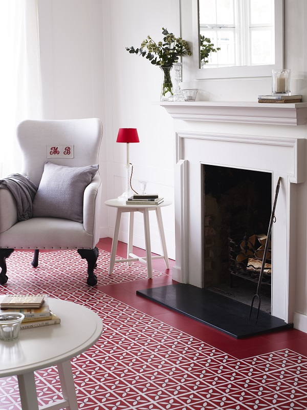 Harvey Maria Little Bricks tiles Venetian Red with Dee Hardwicke Lattice in Cherry Red