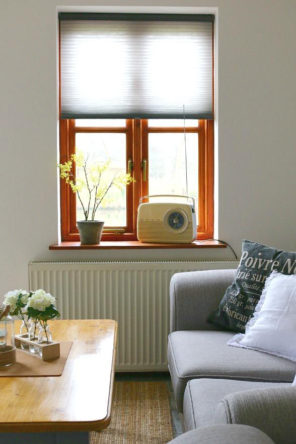 grey blinds, cottage interior