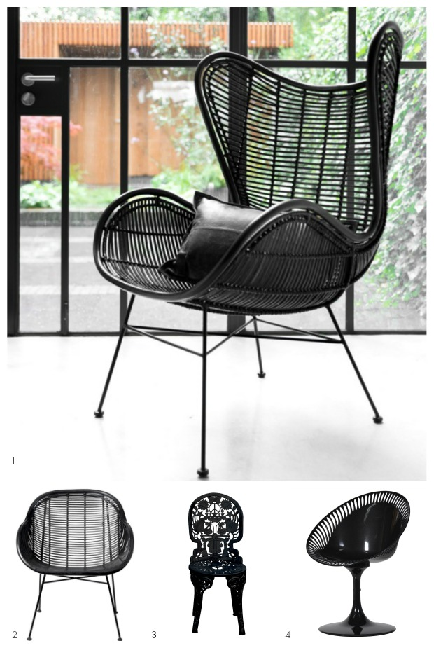 Out there interiors garden chairs, black