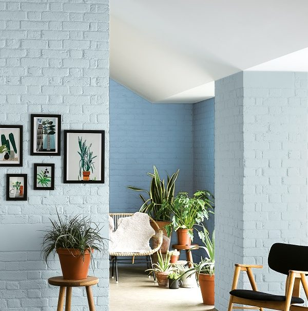 shades of blue, brick and plants