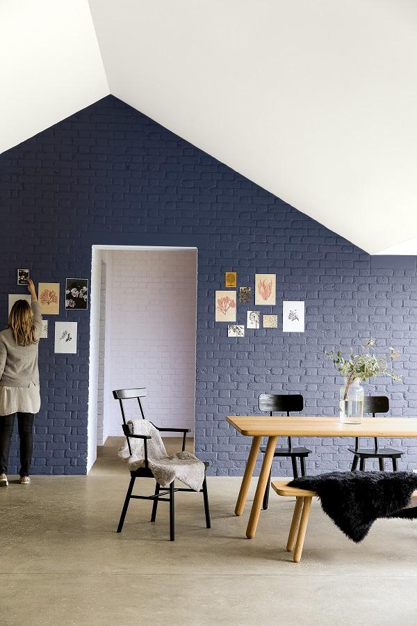 graphite grey walls, brick and crisp white