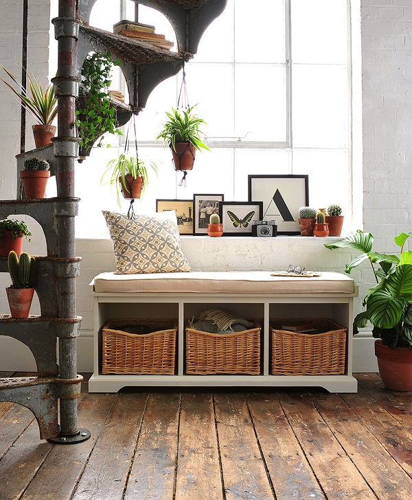 The Cotswold Company, Hall bench, hall seat, hall storage, shoe storage, white brick, spiral staircase, wooden floors, classic furniture, monochrome
