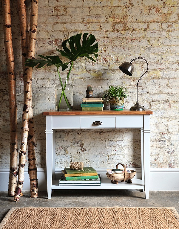 The Cotswold Company,Hall console, painted furniture, grey furniture, brick wall, sussex trug, botanical, gardening, Hallway