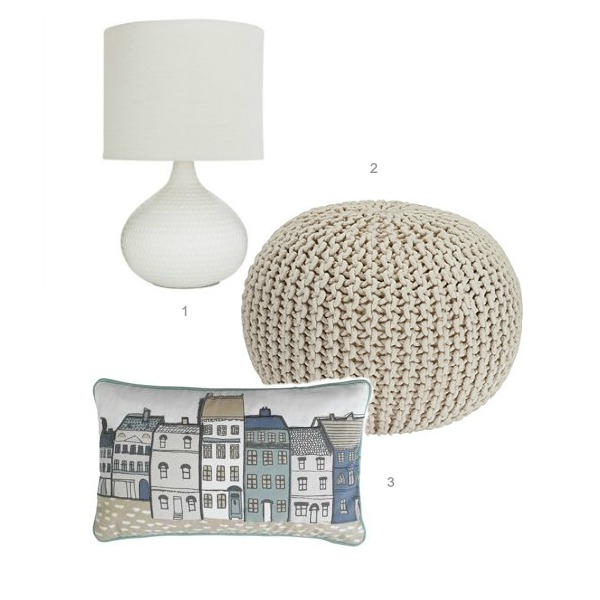 ceramic lamp, knitted pod, Olso houses cushion